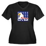 Let's Roll Women's Plus Size V-Neck Dark T-Shirt