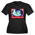 Lady Liberty Women's Plus Size V-Neck Dark T-Shirt