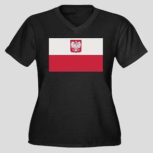 Flag of Poland Women's Plus Size V-Neck Dark T-Shi