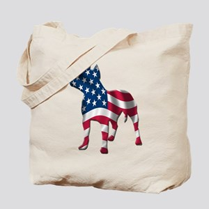 Patriotic Pit Bull Design Tote Bag