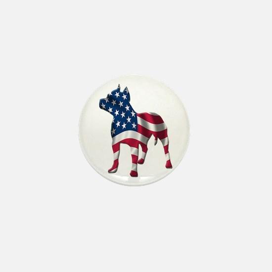 Patriotic Pit Bull Design Mini Button