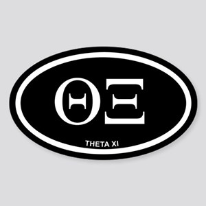 Theta Xi Black Euro Oval Sticker