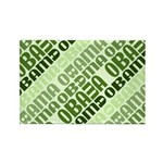 Stacked Obama Green Rectangle Magnet