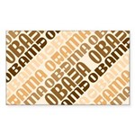 Stacked Obama Brown Rectangle Sticker