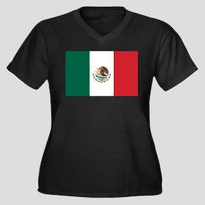 Flag of Mexico Women's Plus Size V-Neck Dark T-Shi