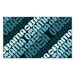 Stacked Obama Blue Rectangle Sticker