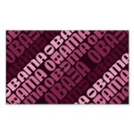 Stacked Obama Purple Rectangle Sticker