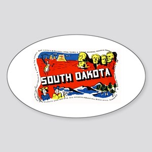 South Dakota Greetings Oval Sticker