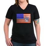 ILY Flag Women's V-Neck Dark T-Shirt