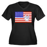 ILY Flag Women's Plus Size V-Neck Dark T-Shirt