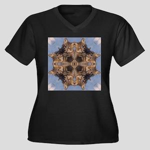 Cross Fox Mandala Women's Plus Size V-Neck Dark T-