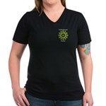 Turbocharged Human Women's V-Neck Dark T-Shirt