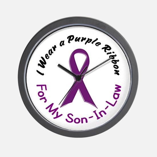 Purple Ribbon For My Son-In-Law 4 Wall Clock