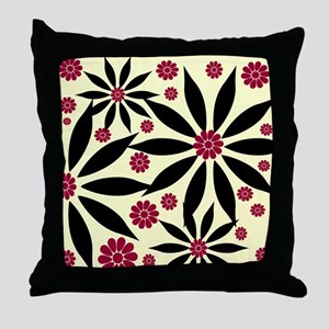Black and Red on Cream Flowered Throw Pillow