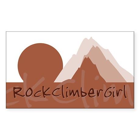 RockClimberGirl Rectangle Sticker