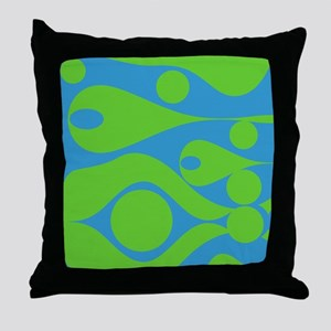 Lime Green and Blue DropsThrow Pillow