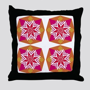 Hot Colors Geometric Times Four Throw Pillow