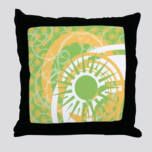 Green and Gold Graphic Throw Pillow