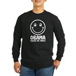 Obama Makes Me Smile Long Sleeve Dark T-Shirt