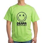 Obama Makes Me Smile Green T-Shirt