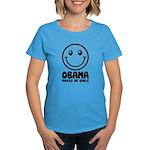 Obama Makes Me Smile Women's Dark T-Shirt