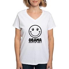 Obama Makes Me Smile Women's V-Neck T-Shirt