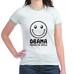 Obama Makes Me Smile Jr. Ringer T-Shirt