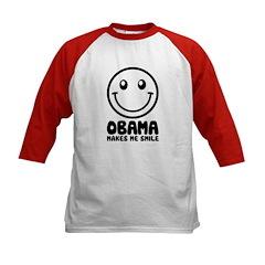 Obama Makes Me Smile Kids Baseball Jersey