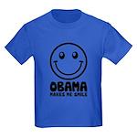 Obama Makes Me Smile Kids Dark T-Shirt
