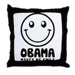 Obama Makes Me Smile Throw Pillow