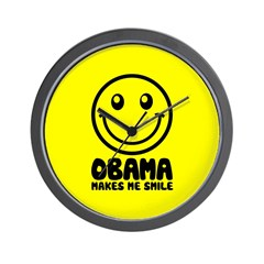 Obama Makes Me Smile Wall Clock