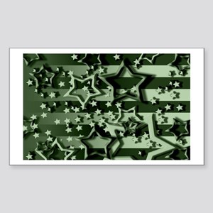 CAMOUFLAGED STARS & STRIPES Rectangle Sticker