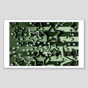 CAMOUFLAGED STARS & STRIPES Rectangle Sticker