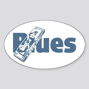 Harmonica Blues Oval Sticker