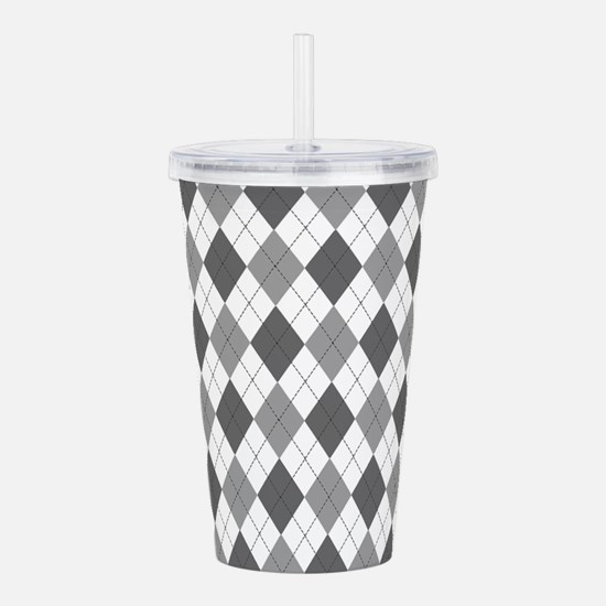 Grey: Argyle Pattern Acrylic Double-wall Tumbler