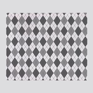 Grey: Argyle Pattern Throw Blanket