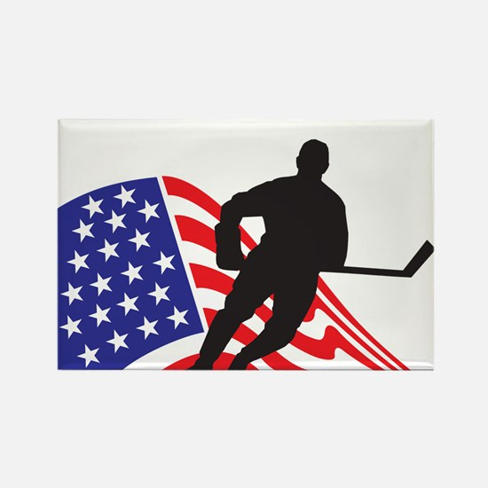 Cute American hockey Rectangle Magnet