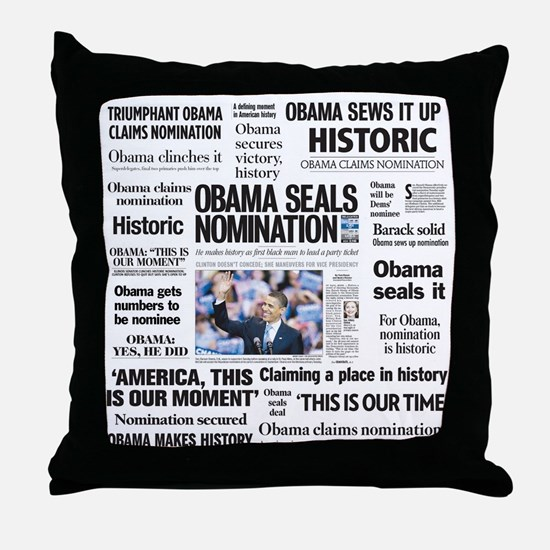 Historic Headlines Obama Throw Pillow