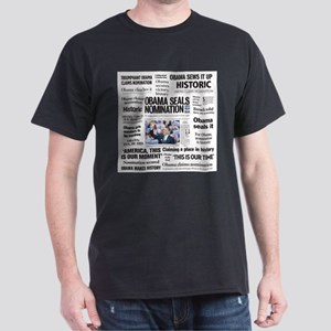 Historic Headlines Obama Dark T-Shirt