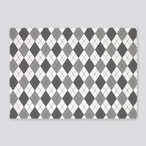 Grey: Argyle Pattern 5'x7'Area Rug