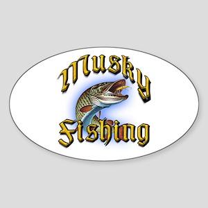 Musky Fishing 2 Oval Sticker