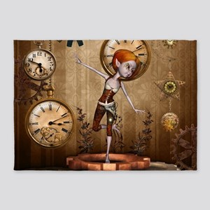 Cute little steampunk girl with clocks and gears 5