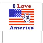 ILY America Flag Yard Sign