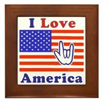 ILY America Flag Framed Tile