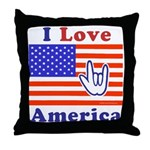 ILY America Flag Throw Pillow