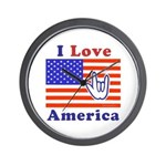 ILY America Flag Wall Clock