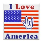 ILY America Flag Tile Coaster