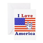ILY America Flag Greeting Cards (Pk of 10)