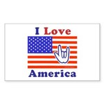 ILY America Flag Rectangle Sticker 10 pk)