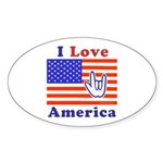 ILY America Flag Oval Sticker (50 pk)